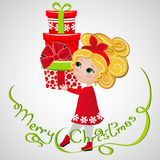 Cute ginger girl with presents. New Year background. Greeting Card design Stock Photography