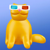 Cute ginger stereoscopic cat. Funny cheerful 3D illustration. Royalty Free Stock Image