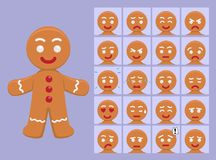 Cute Gingerbread Cartoon Emotion faces Vector Illustration Royalty Free Stock Image