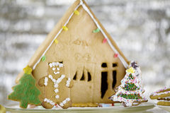 Cute gingerbread house Royalty Free Stock Images