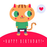 Cute ginjer cat in jeans and sweater with speech bubble and heart illustration Royalty Free Stock Photography