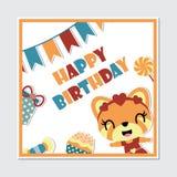 Cute gir fox and birthday elements frame vector cartoon. Illustration for happy birthday card design, postcard, and wallpaper Royalty Free Stock Photos