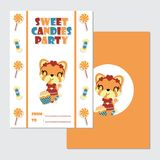 Cute gir fox and her candies  cartoon. Illustration for happy birthday card design, postcard, and wallpaper Royalty Free Stock Photo