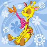 Cute giraffe. With shool bag and bird on blue abstract background with flowers Stock Image