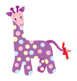 Cute Giraffe. A cute purple giraffe with dotted patten on the body and red ribbon at the end of the tail Royalty Free Stock Image