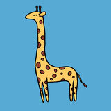 Cute giraffe on blue background Stock Photo