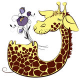 Cute giraffe with bunch of flowers. Cute giraffe cartoon character with bunch of flowers Royalty Free Stock Photo