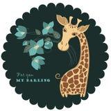 Cute giraffe with bunch of flowers. Cute giraffe cartoon character with bunch of flowers Stock Illustration