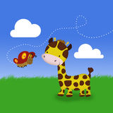 Cute Giraffe and Butterfly Royalty Free Stock Photography