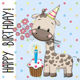 Cute Giraffe with cake vector illustration