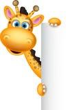 Cute giraffe cartoon with banner Royalty Free Stock Photos