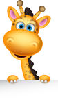 Cute giraffe cartoon with banner Royalty Free Stock Photography