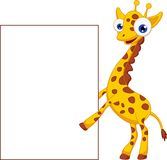 Cute giraffe cartoon with blank sign Royalty Free Stock Image