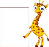 Cute giraffe cartoon with blank sign Royalty Free Stock Images