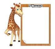 Cute Giraffe cartoon character with exam pad Royalty Free Stock Images