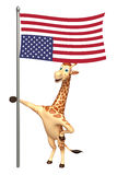 Cute Giraffe cartoon character with flag. 3d rendered illustration of Giraffe cartoon character with flag Royalty Free Stock Photos