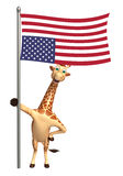 Cute Giraffe cartoon character with flag. 3d rendered illustration of Giraffe cartoon character with flag Royalty Free Stock Images