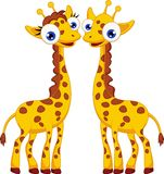 Cute giraffe cartoon couple Stock Images