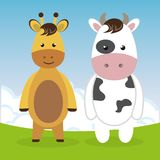 Cute giraffe and cow in the field landscape characters. Vector illustration design Stock Image