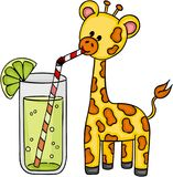 Cute giraffe drinking refreshment of lemonade. Scalable vectorial image representing a cute giraffe drinking refreshment of lemonade, isolated on white Stock Images