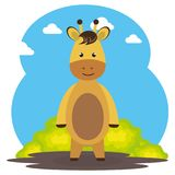 Cute giraffe in the field landscape character. Vector illustration design Stock Photography