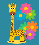 A cute giraffe on floral background Stock Photos