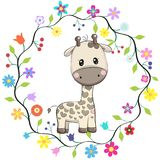 Cute Giraffe in a flowers frame royalty free illustration