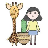 Cute giraffe and girl with exotic cactus in ceramic pot. Vector illustration design vector illustration