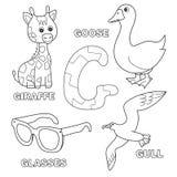 Cute giraffe, goose, glasses, gull for letter G in kids alphabet. Cute giraffe, goose, glasses, gull letter G in kids alphabet. Hand drawn outline cartoon vector illustration