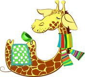 Cute giraffe got flue Stock Image