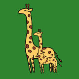 Cute giraffe on green background Stock Images