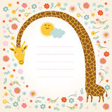 Cute giraffe. Greeting card, place for your text Royalty Free Stock Images