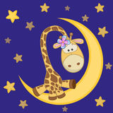 Cute Giraffe on the moon. Cute Giraffe is sitting on the moon Royalty Free Stock Photography