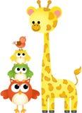 Cute giraffe with owls and bird Royalty Free Stock Photos