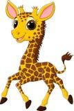 Cute giraffe running on white background stock illustration
