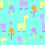 Cute giraffe seamless childlike  pattern Stock Photography