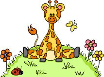 Cute giraffe sitting in the garden. Scalable vectorial representing a cute giraffe sitting in the garden, illustration isolated on white background Stock Photography