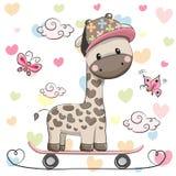 Cute Giraffe with skateboard Stock Photos