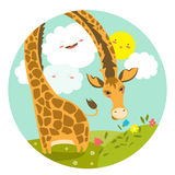 Cute giraffe smelling a flower. Vector illustration Royalty Free Stock Images