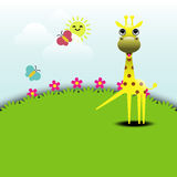 Cute giraffe standing in grassland Stock Photo
