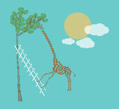 Cute giraffe. Giraffe Trying To  Eat Leaves With Help Of Ladder Royalty Free Stock Images