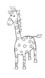 Cute giraffe. Vector illustration for coloring stock illustration