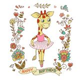 Cute giraffe with vintage frame of flowers. vector illustration