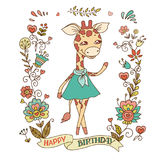 Cute giraffe with vintage frame of flowers. royalty free illustration