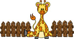 Cute giraffe with wooden fence Royalty Free Stock Images