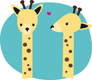 Cute Giraffes. Illustration of two cute giraffes in love Royalty Free Illustration