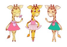 Cute giraffes - with closed eyes in pink dress, ballerina dances in a tutu and on pointes. Vector illustration for Valentine`s Day, baby announcement, Mother`s Royalty Free Stock Photography