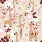 Cute giraffes. Vector seamless pattern with  cute giraffes Royalty Free Stock Photos