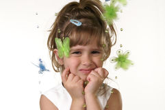 Cute girl. A portrait of a cute girl and butterflies stock photography