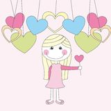 Cute girl. With heart wand and hearts vector illustration Stock Images